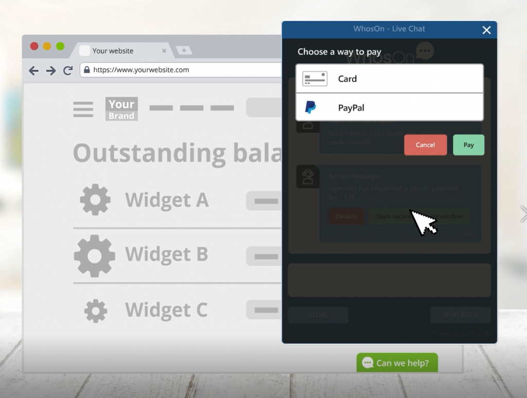 WhosOn feature highlight: live chat payments